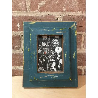 Wood Photo Frame 3 x 5 Red & Blue