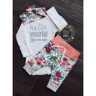 Gigi and Max Hello World Coral Floral Outfit NB