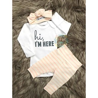 Gigi and Max Hi I'm Here Coral Stripe Outfit NB