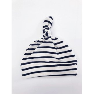 Macie and me Knotted Hat NB - Black & Off White Stripe
