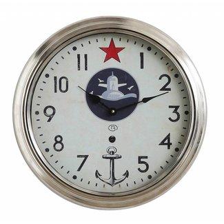 Round Metal Framed Wall Clock w/ Star & Anchor