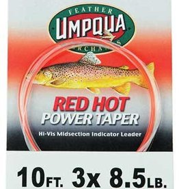 UMPQUA RED HOT POWER TAPER INDICATOR LEADER - RED