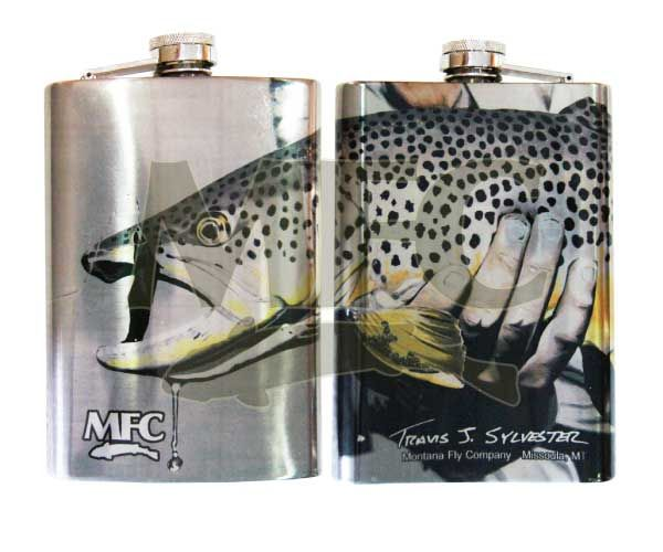 MONTANA FLY MFC STAINLESS STEEL HIP FLASK - SYLVESTER'S SMITH RIVER GOLD