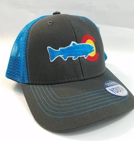 BLUE QUILL ANGLER BQA LOGO YOUTH TRUCKER - GREY/BLUE