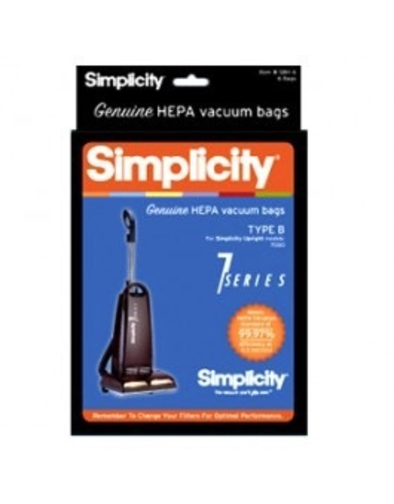 Simplicity Type B HEPA media bags fit Simplicity 7 Series upright vacuums.