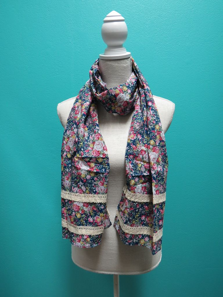 Scarf Floral Scarf w/ Lace Trimmings