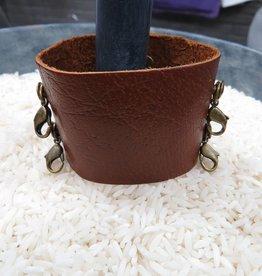 Jewelry Dark Chestnut Wide Leather Cuff