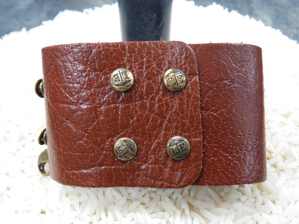 Jewelry Dark Chestnut Wide Leather Cuff