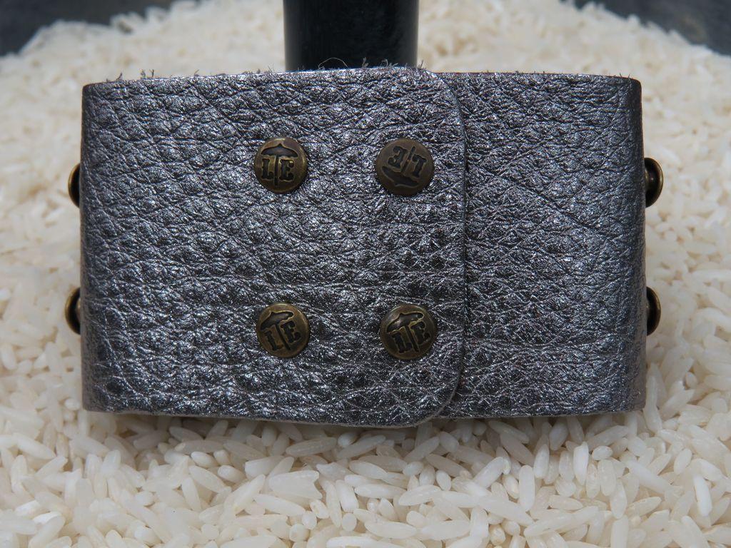 Jewelry Gunmetal Wide Leather Cuff