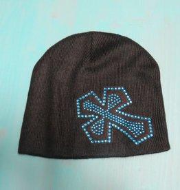 Hat Rhinestone Blue Cross Beanie
