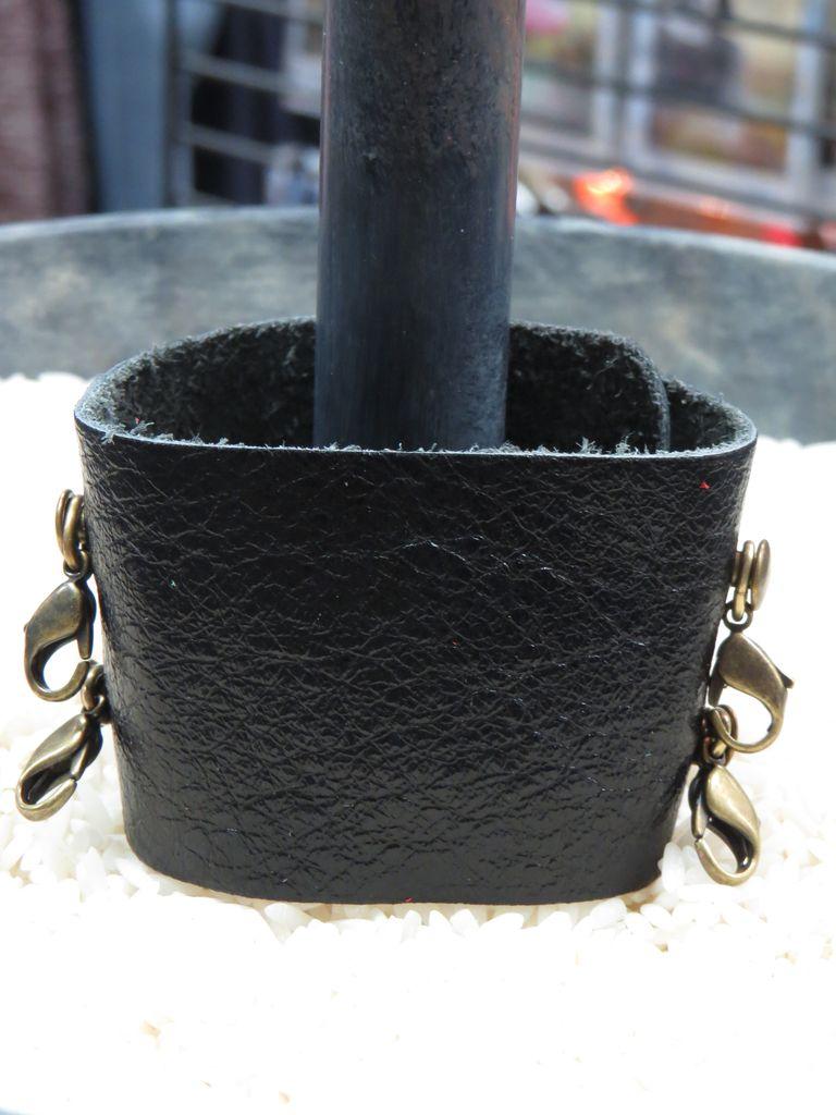 Jewelry Graphite Wide Leather Cuff