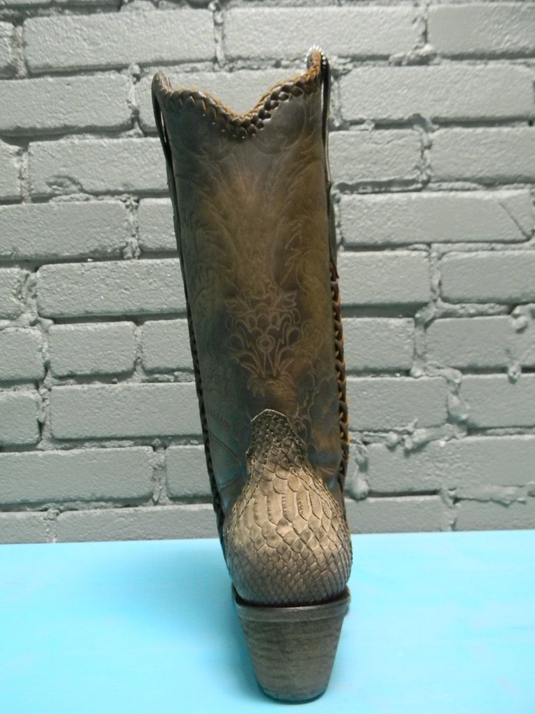 Boot Saddle Sanded Python Lace Boot
