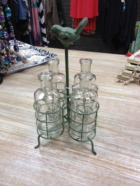 Decor Metal Holder Glass Vases