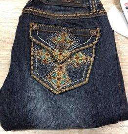 Jean Topaz/Turq Cross BootCut Jeans