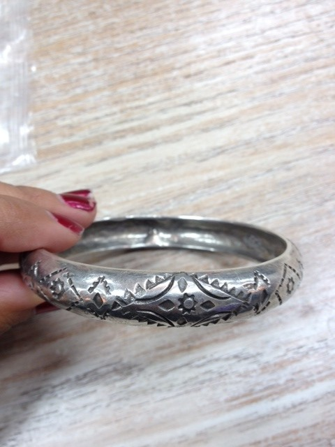 Jewelry Wide Hand Stamped Bangle