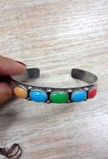 Jewelry Silver Cuff- OrgRedTurqGreen Stones