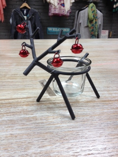 Decor Iron Reindeer Votive w/ Bells