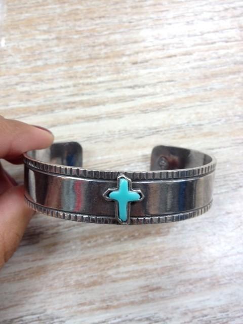 Jewelry Silver Cuff- Turq Cross