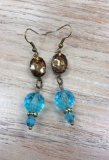 Jewelry Bronze Oval Earring w/ Crystals