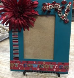 Decor Teal/Red Cowboy Frame