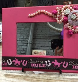 Decor Pink Cowgirls Rule Mirror