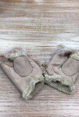 Gloves Beige Fingerless Fur Gloves