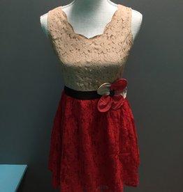 Dress Beige/Coral Crochet Dress w/ Flower