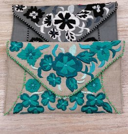 Purse Embroidered Envelope Clutch