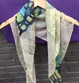 Scarf Blue/Green Butterfly Scarf