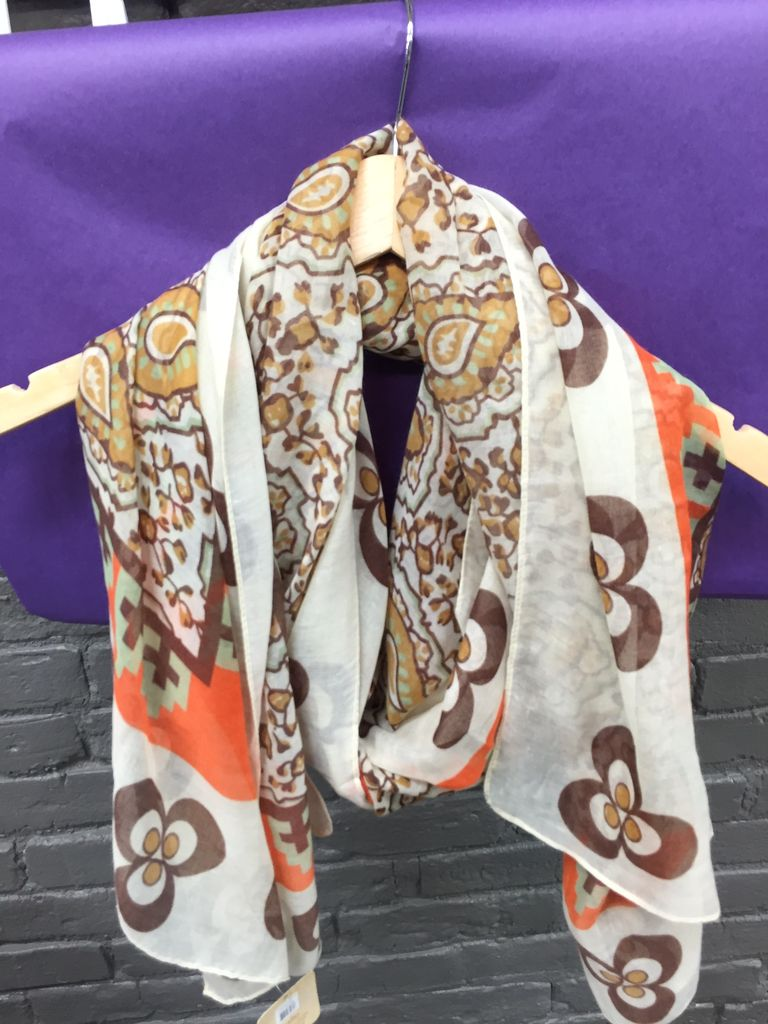 Scarf Orange/Tan Patterned Scarf