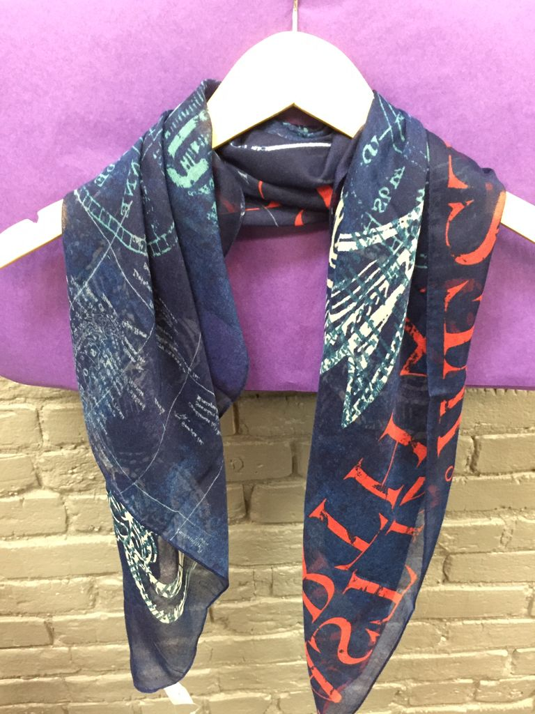 Scarf Navy Anchor Square Scarf
