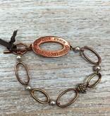 Jewelry Copper/Pearl Oval Link Bracelet