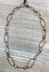 Jewelry Copper/Pearl Oval Necklace