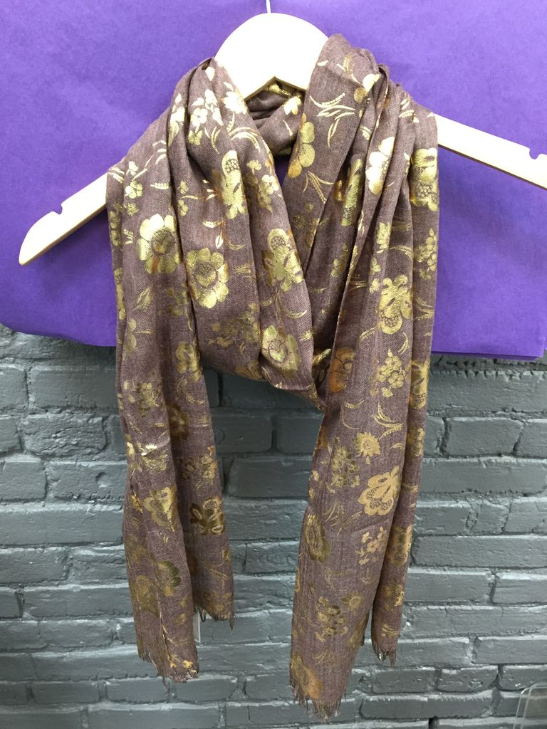 Scarf Brown/Pink Gold Foil Scarf