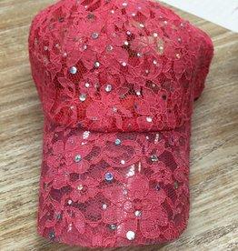 Hat Lace Cap w/ Rhinestones