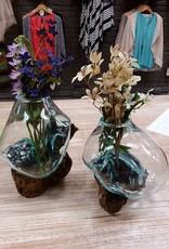 Decor Molten Wood/Glass Vase, Small