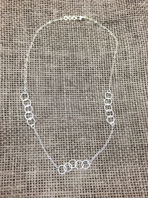 Jewelry Silver Necklace w/ Multi Rings