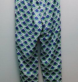 Pant Navy & Green Silk Pant