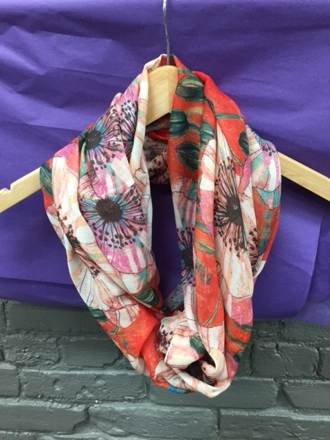 Scarf Poppies on Orange Infinity Scarf