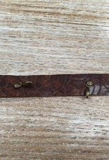 Jewelry Vintage Floral Brn Thin Leather Cuff