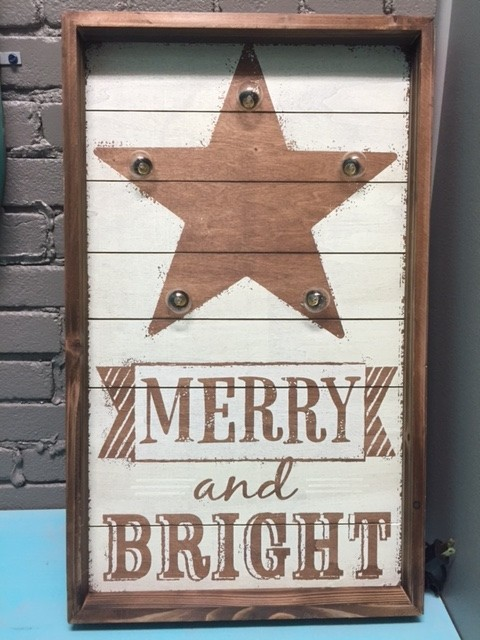 Art Merry & Bright Lit Wall Art 25x15