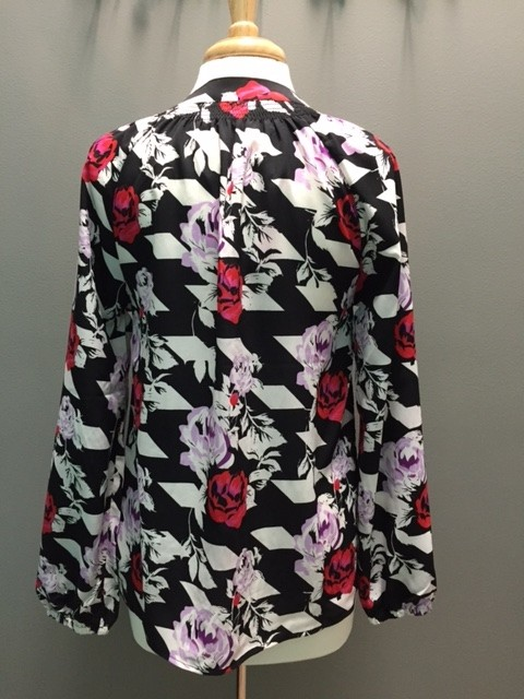 Blouse Red/Blk Floral LS Blouse
