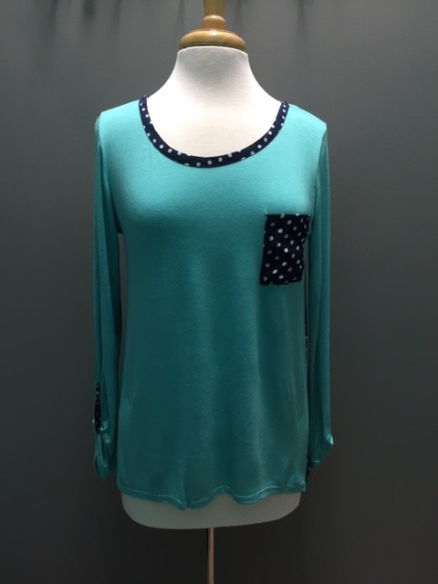 Long Sleeve Mint LS w/ Polka Dot Back