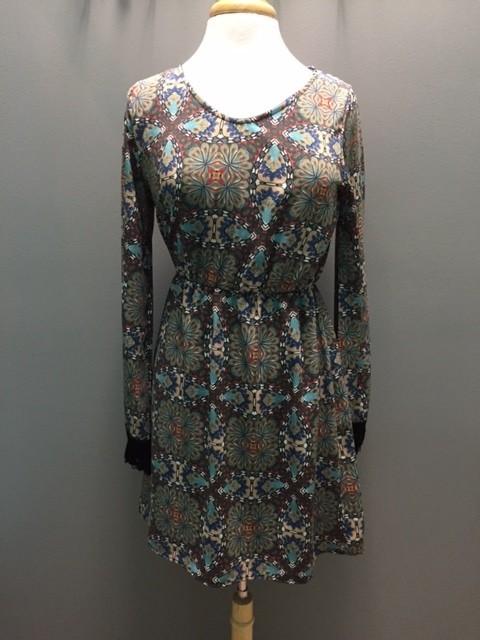 Dress Teal Printed Fringe Cuff Dress