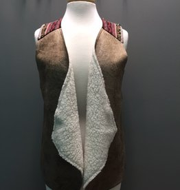 Vest Tan Faux Leather Vest w/ Aztec