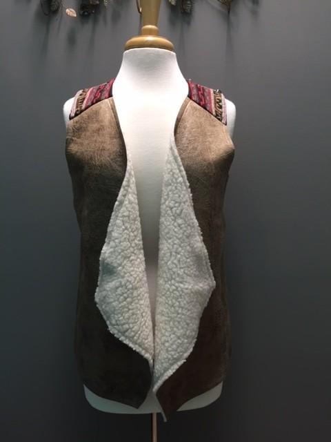 Vest Tan Faux Leather Vest w/ Aztec