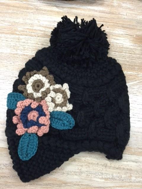 Beanie Knit Flower Beanie w/ Brim