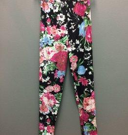 Leggings Blk Floral Leggings-OneSize