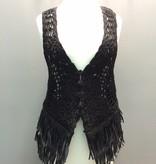 Vest Blk Crochet Vest w/ Fringe-OS