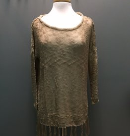 Sweater Tan Oversize Fringe Sweater